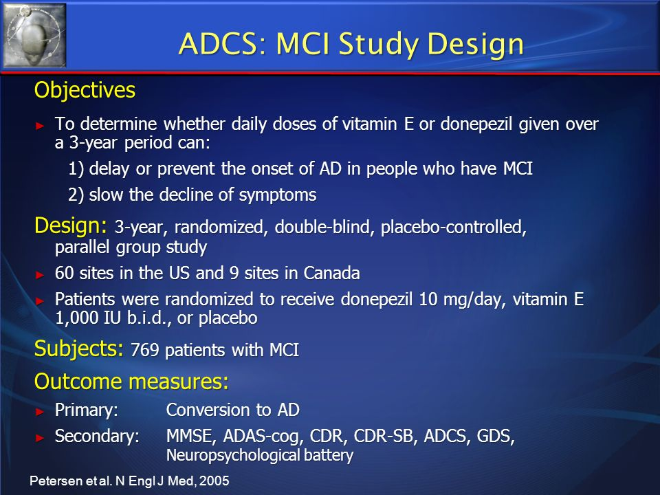 ADCS: MCI Study Design Objectives