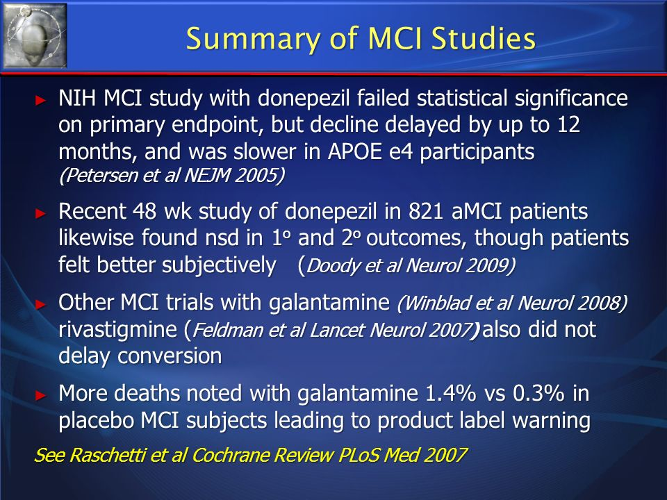Summary of MCI Studies