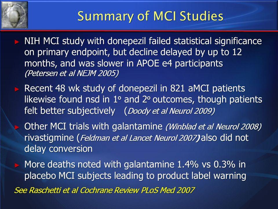 Summary of MCI Studies
