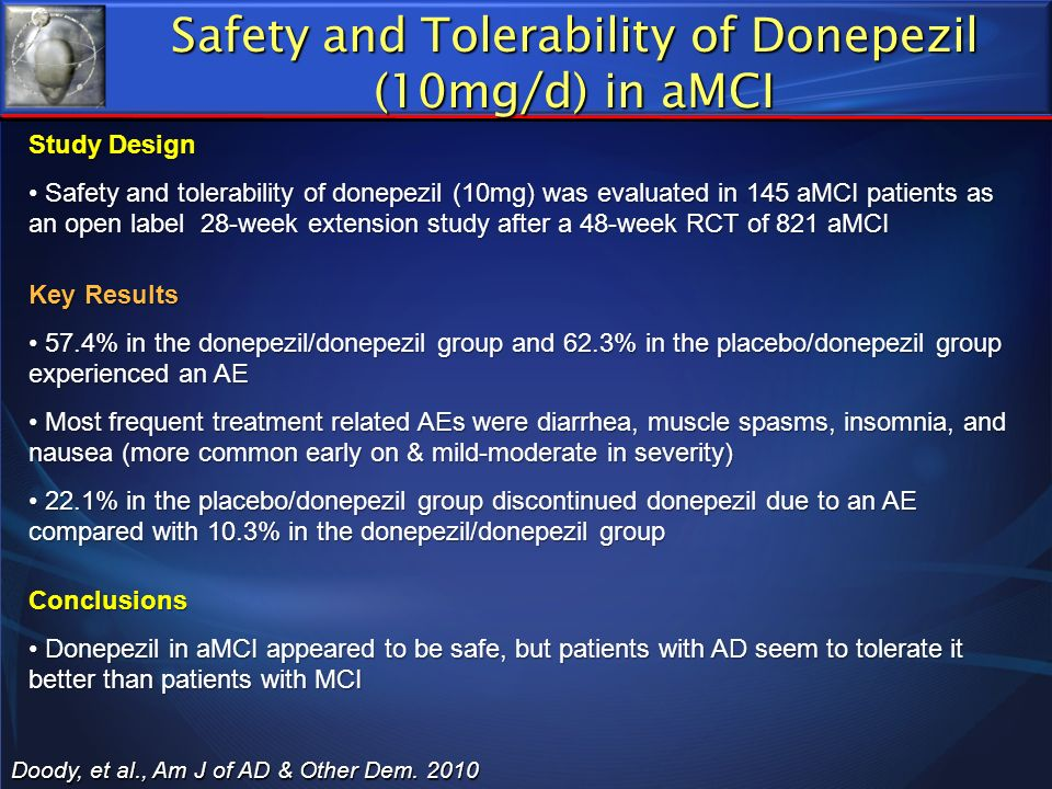 Safety and Tolerability of Donepezil (10mg/d) in aMCI