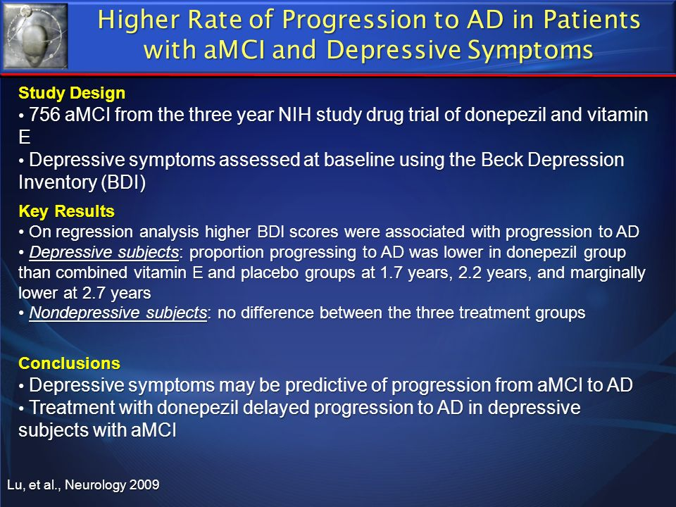 Higher Rate of Progression to AD in Patients with aMCI and Depressive Symptoms
