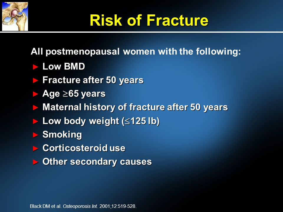 Risk of Fracture All postmenopausal women with the following: Low BMD