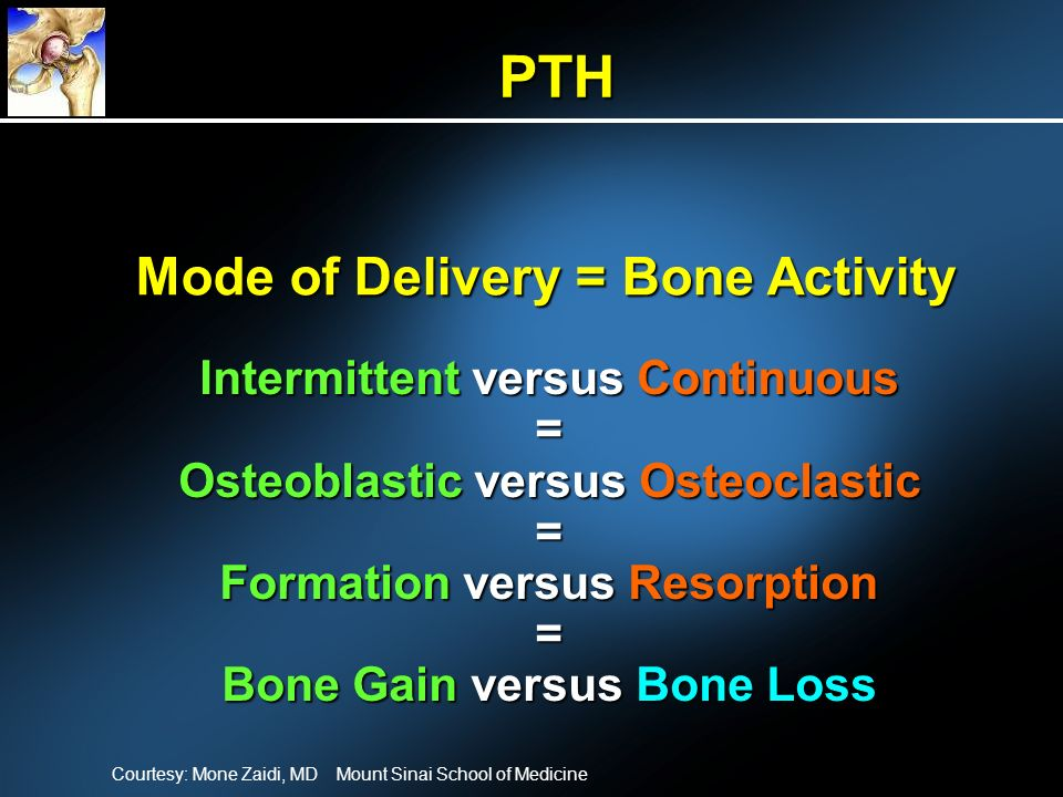 PTH Mode of Delivery = Bone Activity Intermittent versus Continuous =