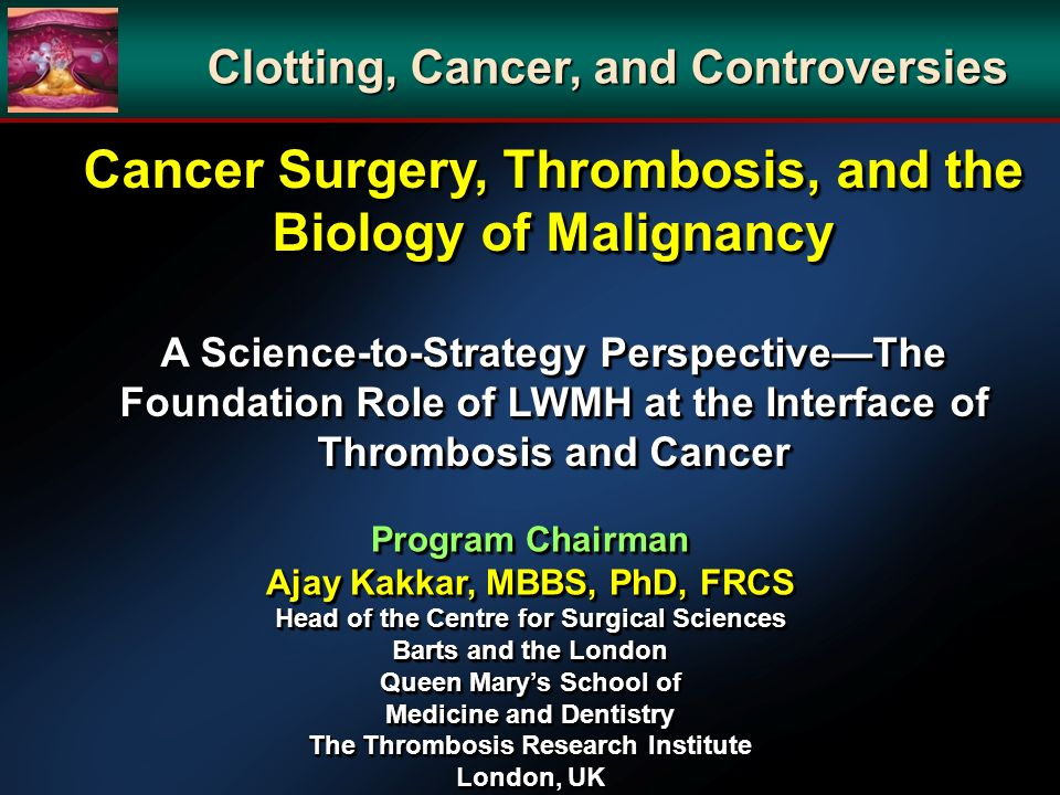 Cancer Surgery, Thrombosis, and the Biology of Malignancy