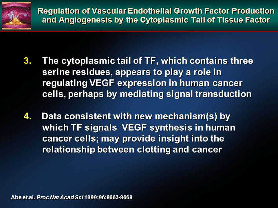 Regulation of Vascular Endothelial Growth Factor Production and Angiogenesis by the Cytoplasmic Tail of Tissue Factor