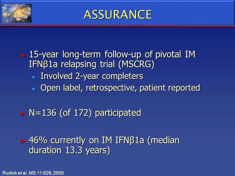 ASSURANCE 15-year long-term follow-up of pivotal IM IFNβ1a relapsing trial (MSCRG) Involved 2-year completers.