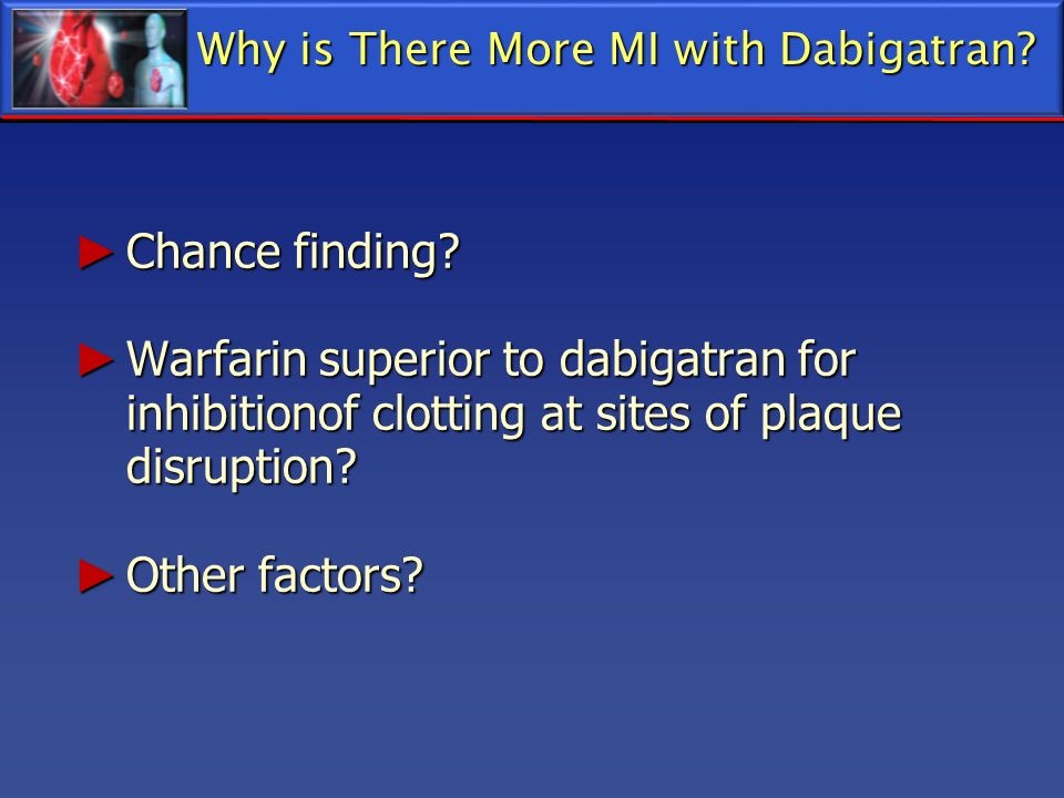 Why is There More MI with Dabigatran