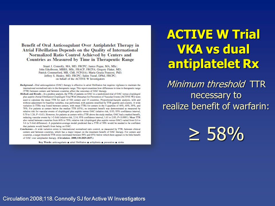 ≥ 58% ACTIVE W Trial VKA vs dual antiplatelet Rx