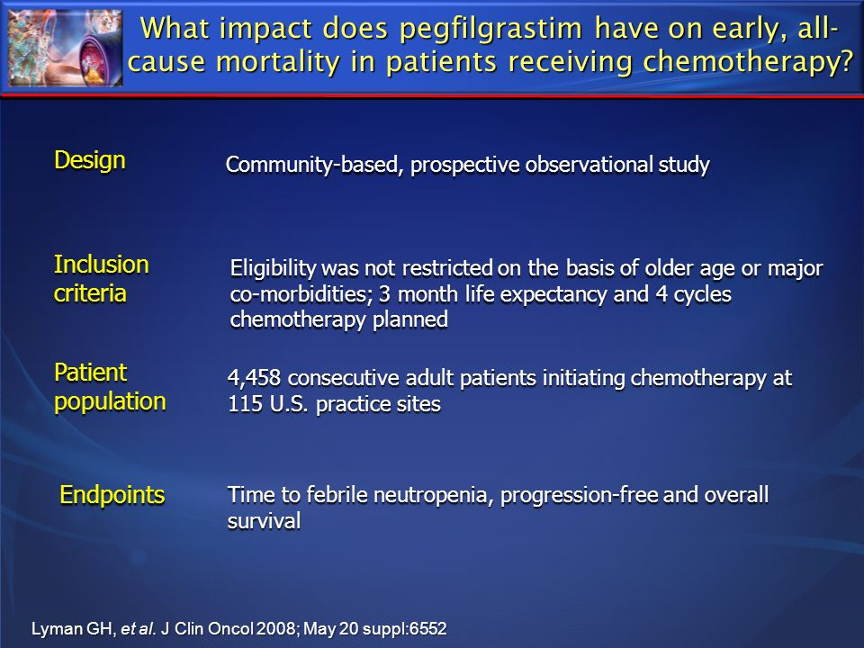 What impact does pegfilgrastim have on early, all-cause mortality in patients receiving chemotherapy