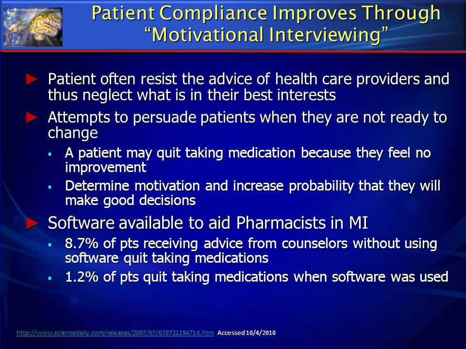 Patient Compliance Improves Through Motivational Interviewing