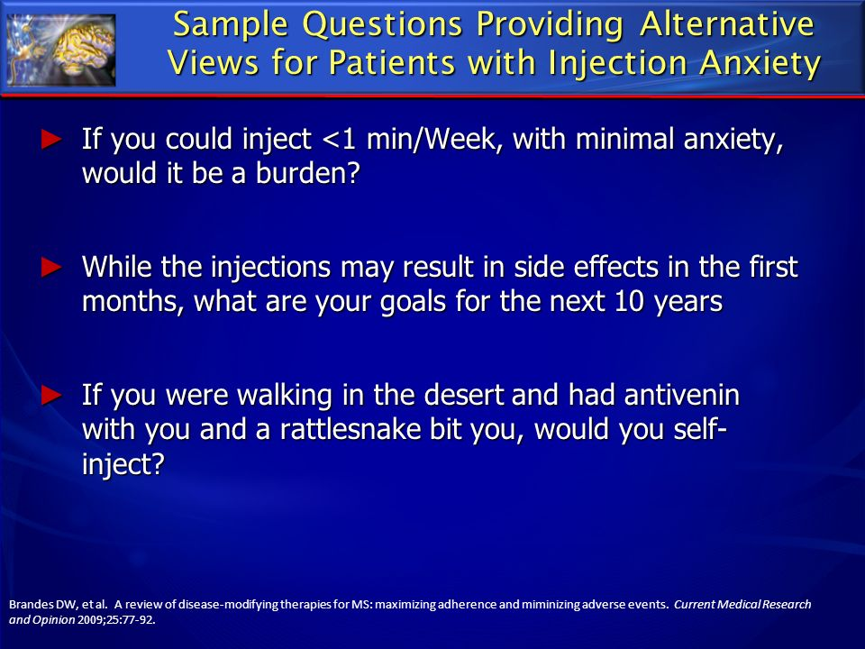 Sample Questions Providing Alternative Views for Patients with Injection Anxiety
