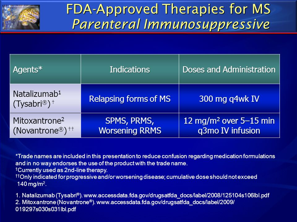 FDA-Approved Therapies for MS Parenteral Immunosuppressive