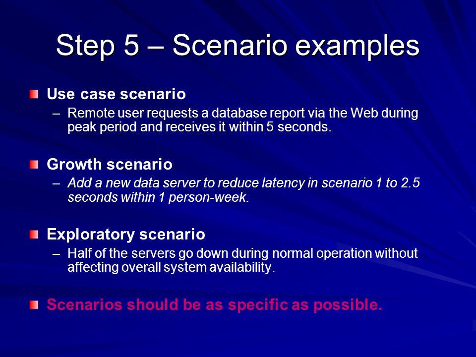 Step 5 – Scenario examples