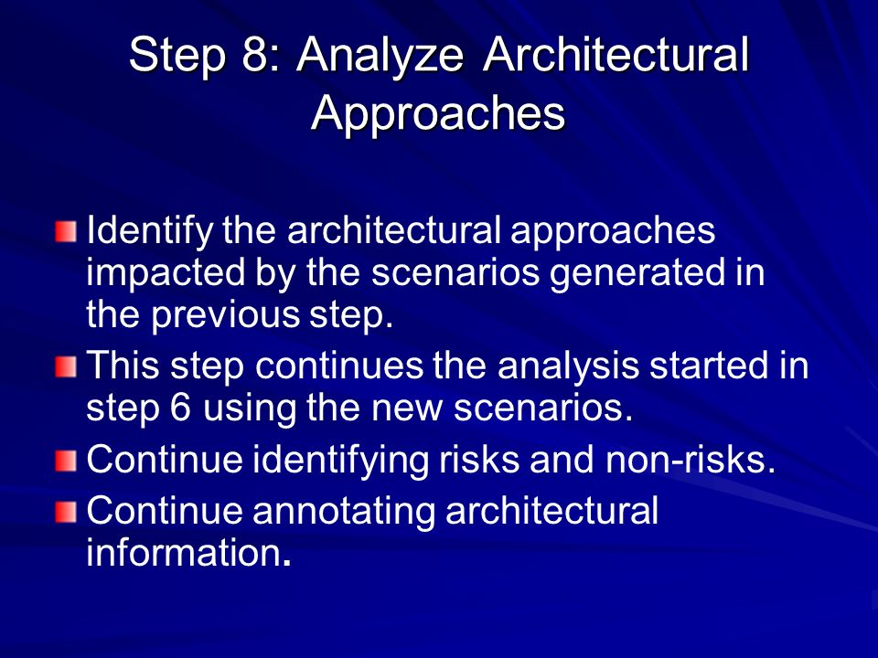 Step 8: Analyze Architectural Approaches