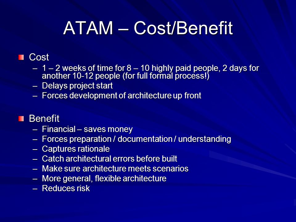 ATAM – Cost/Benefit Cost Benefit