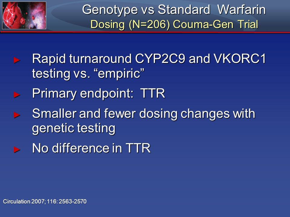 Genotype vs Standard Warfarin