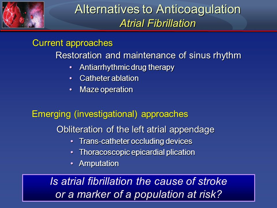 Alternatives to Anticoagulation Atrial Fibrillation