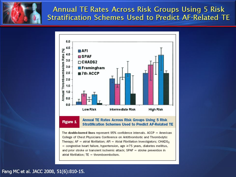 Annual TE Rates Across Risk Groups Using 5 Risk Stratification Schemes Used to Predict AF-Related TE