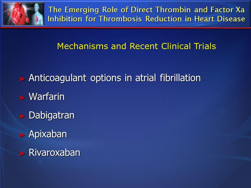 Anticoagulant options in atrial fibrillation Warfarin Dabigatran