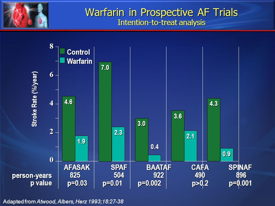 Warfarin in Prospective AF Trials Intention-to-treat analysis