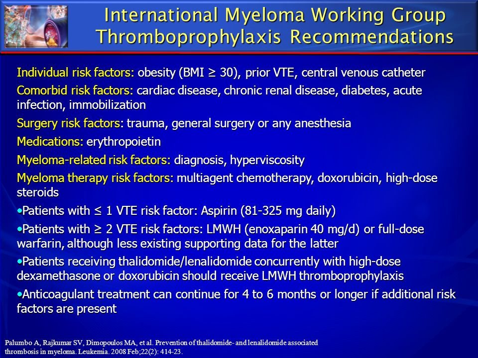 International Myeloma Working Group Thromboprophylaxis Recommendations