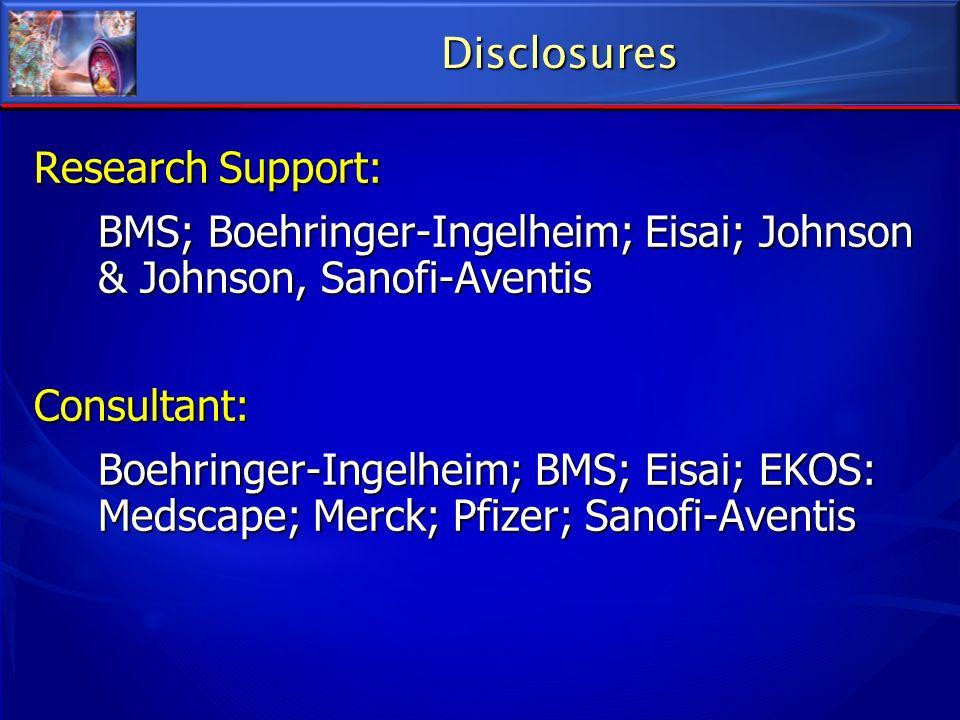 Disclosures Research Support: BMS; Boehringer-Ingelheim; Eisai; Johnson & Johnson, Sanofi-Aventis.