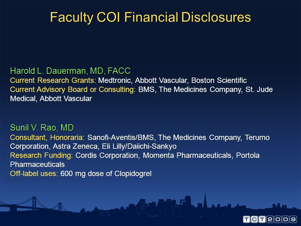 Faculty COI Financial Disclosures