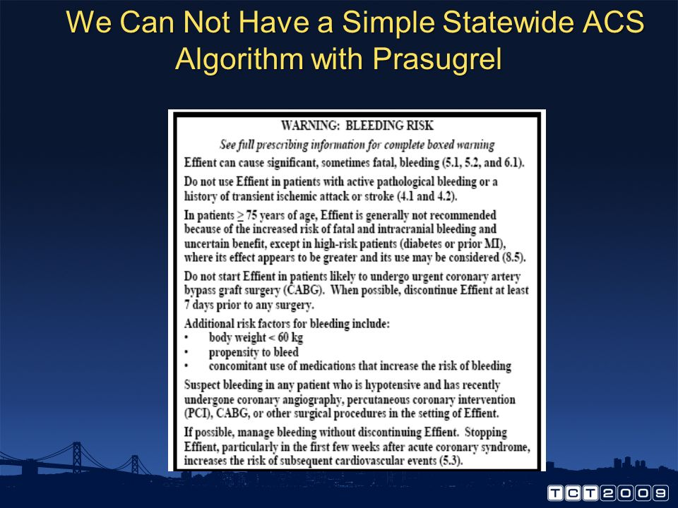 We Can Not Have a Simple Statewide ACS Algorithm with Prasugrel