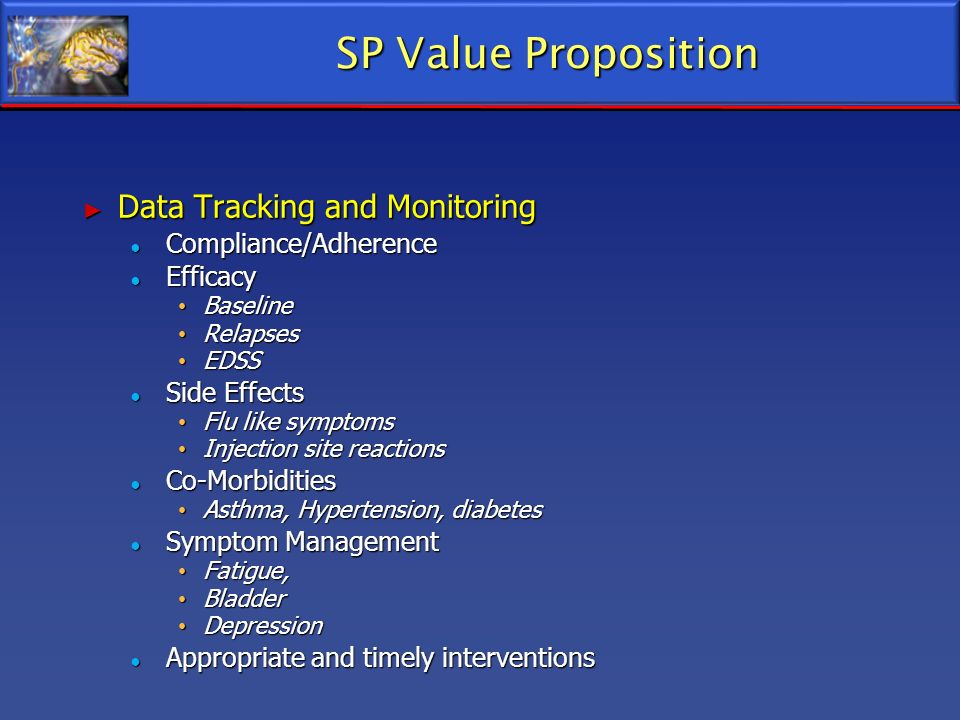 SP Value Proposition Data Tracking and Monitoring Compliance/Adherence