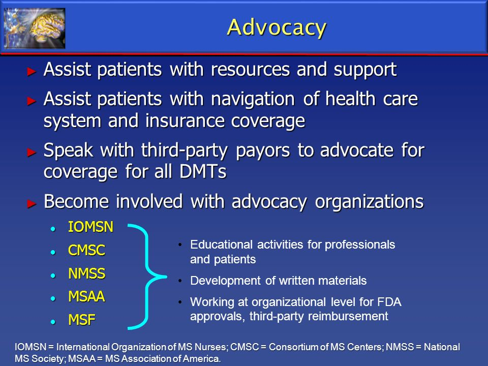 Advocacy Assist patients with resources and support