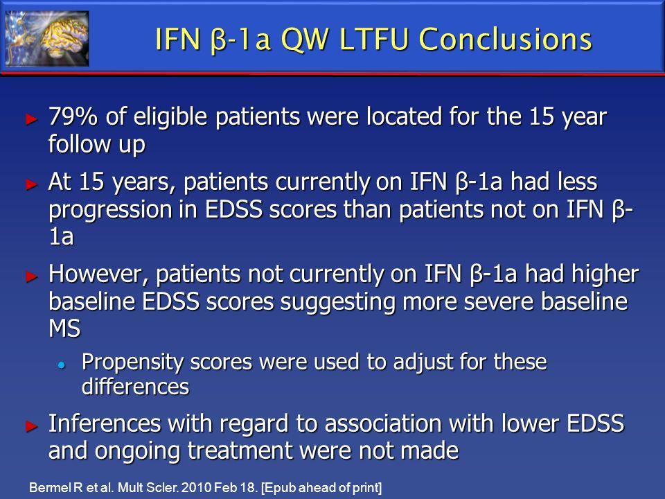 IFN β-1a QW LTFU Conclusions