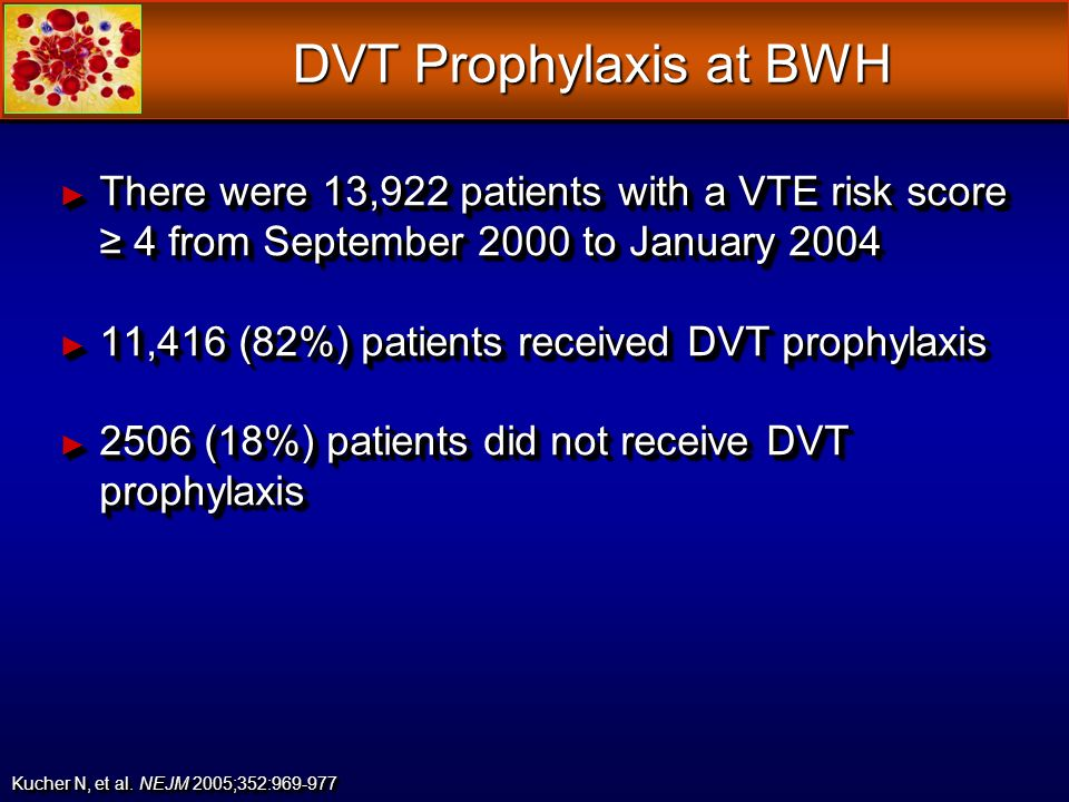 DVT Prophylaxis at BWH There were 13,922 patients with a VTE risk score ≥ 4 from September 2000 to January 2004.