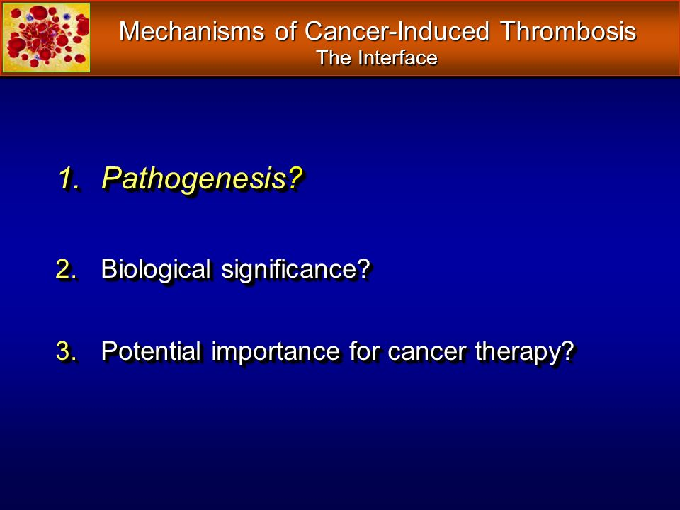 Mechanisms of Cancer-Induced Thrombosis The Interface