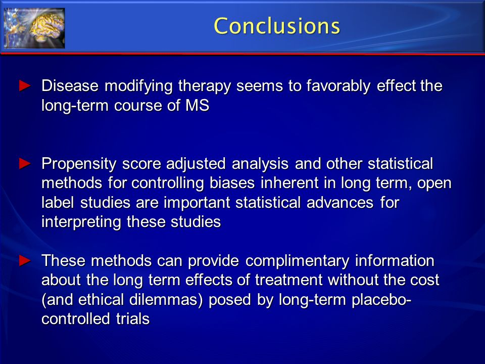 ConclusionsDisease modifying therapy seems to favorably effect the long-term course of MS.