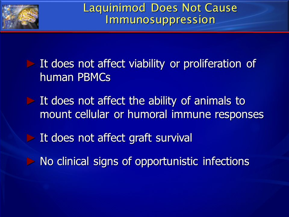 Laquinimod Does Not Cause Immunosuppression