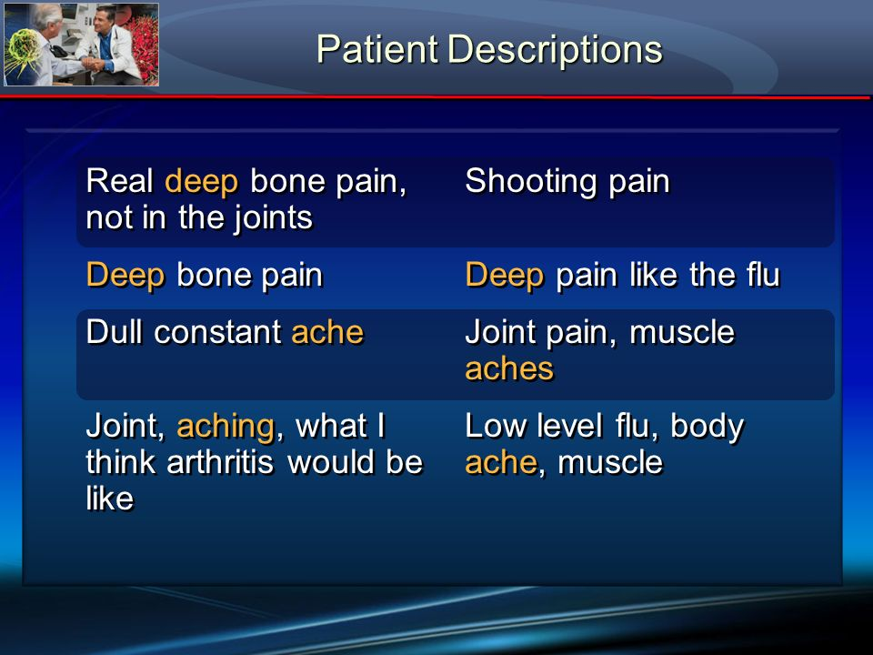 Patient Descriptions Real deep bone pain, not in the joints