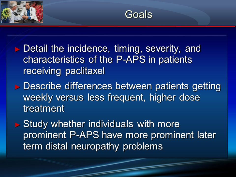 Goals Detail the incidence, timing, severity, and characteristics of the P-APS in patients receiving paclitaxel.