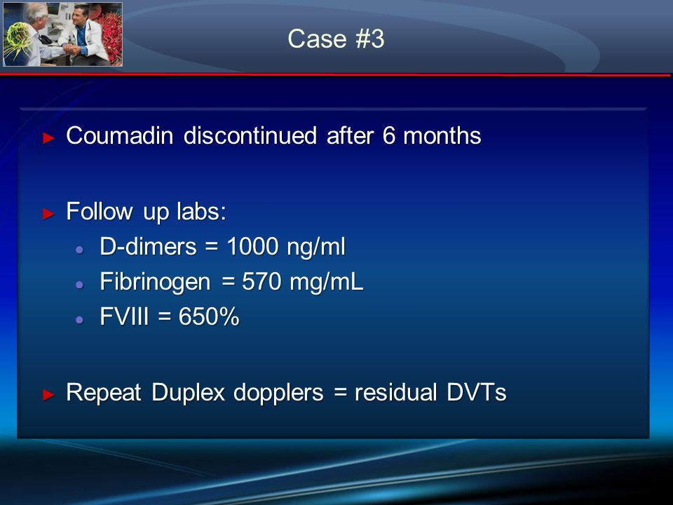 Case #3 Coumadin discontinued after 6 months Follow up labs: