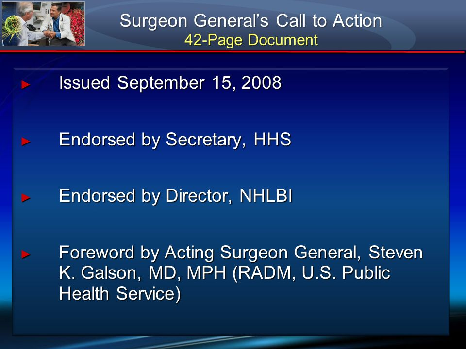 Surgeon General's Call to Action 42-Page Document