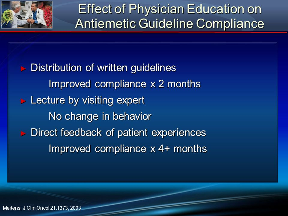 Effect of Physician Education on Antiemetic Guideline Compliance