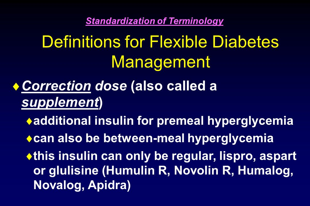 Definitions for Flexible Diabetes Management