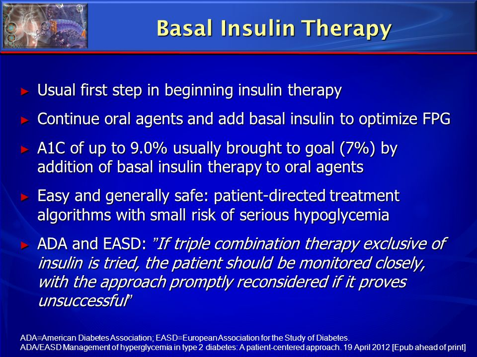 Basal Insulin Therapy Usual first step in beginning insulin therapy
