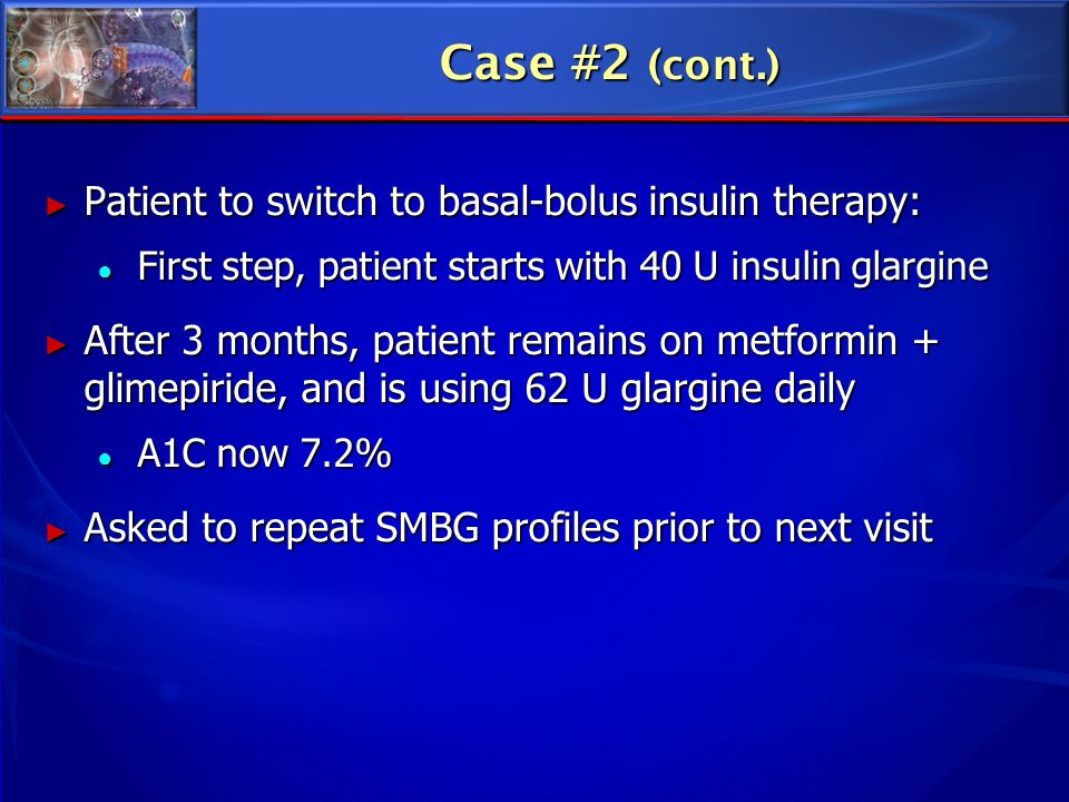Case #2 (cont.) Patient to switch to basal-bolus insulin therapy: