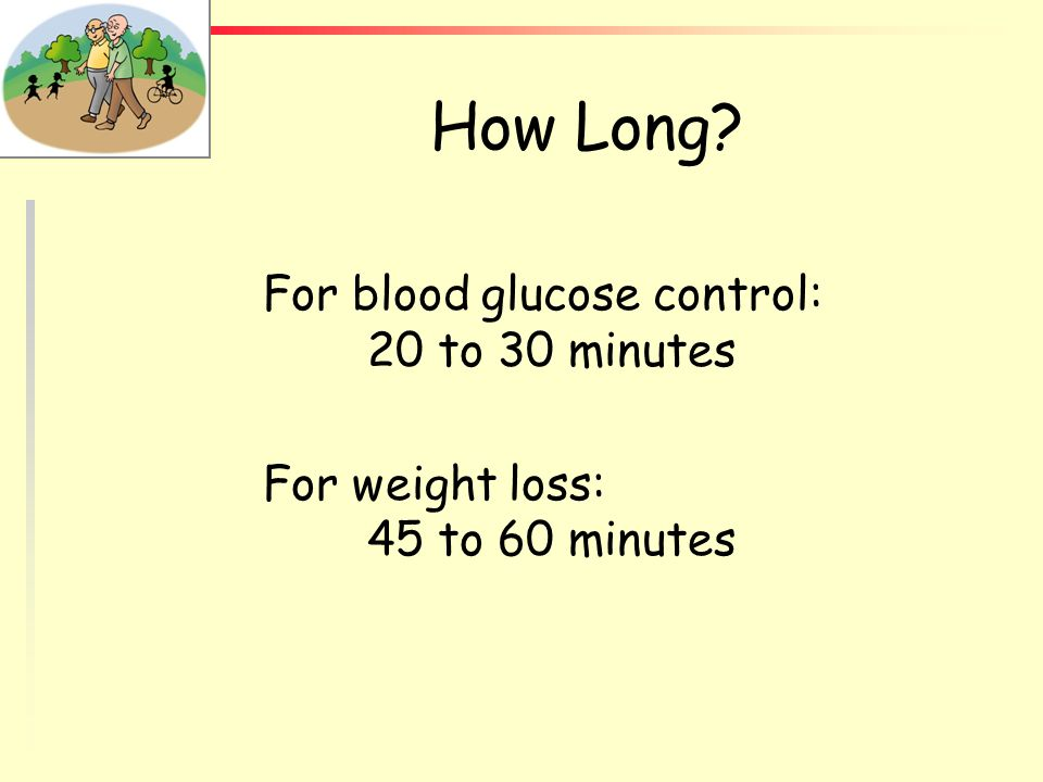 How Long For blood glucose control: 20 to 30 minutes