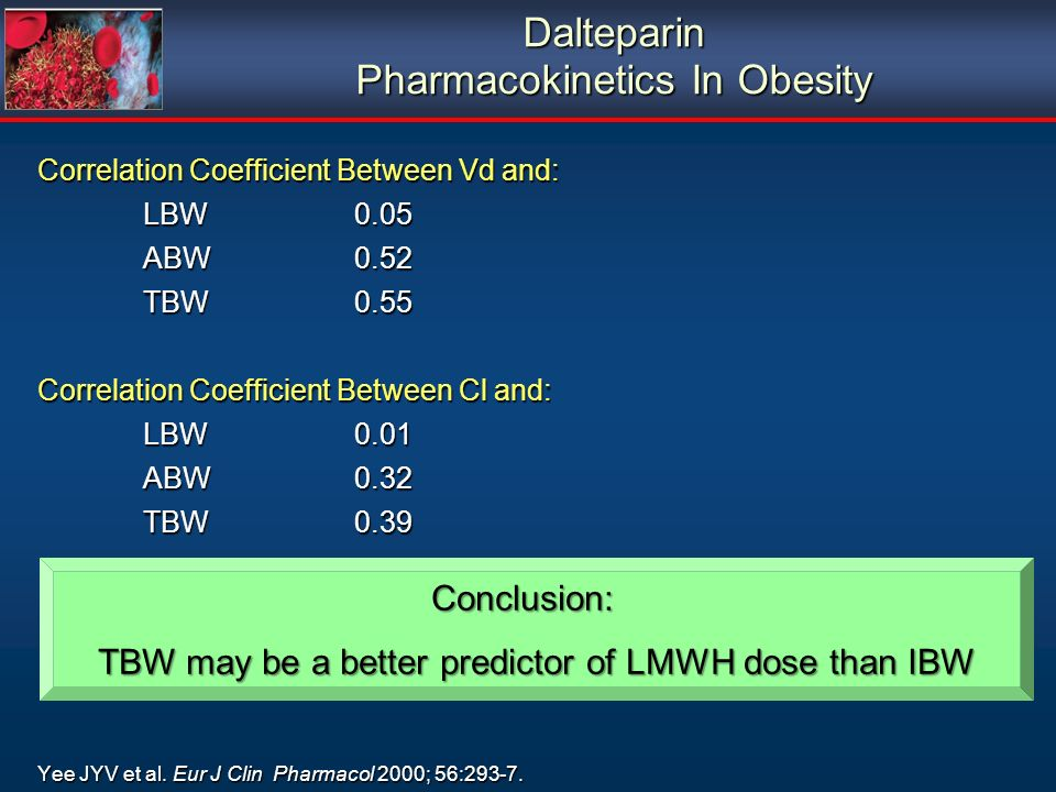 Dalteparin Pharmacokinetics In Obesity