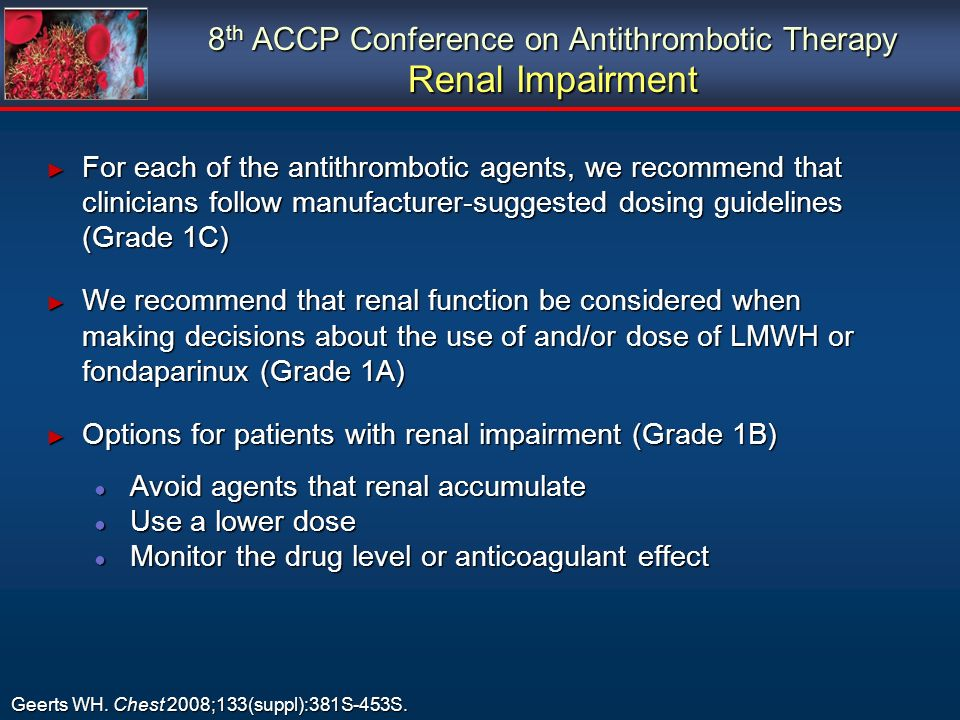 8th ACCP Conference on Antithrombotic Therapy Renal Impairment