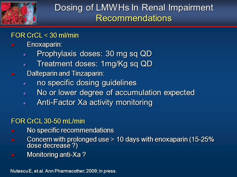 Dosing of LMWHs In Renal Impairment Recommendations
