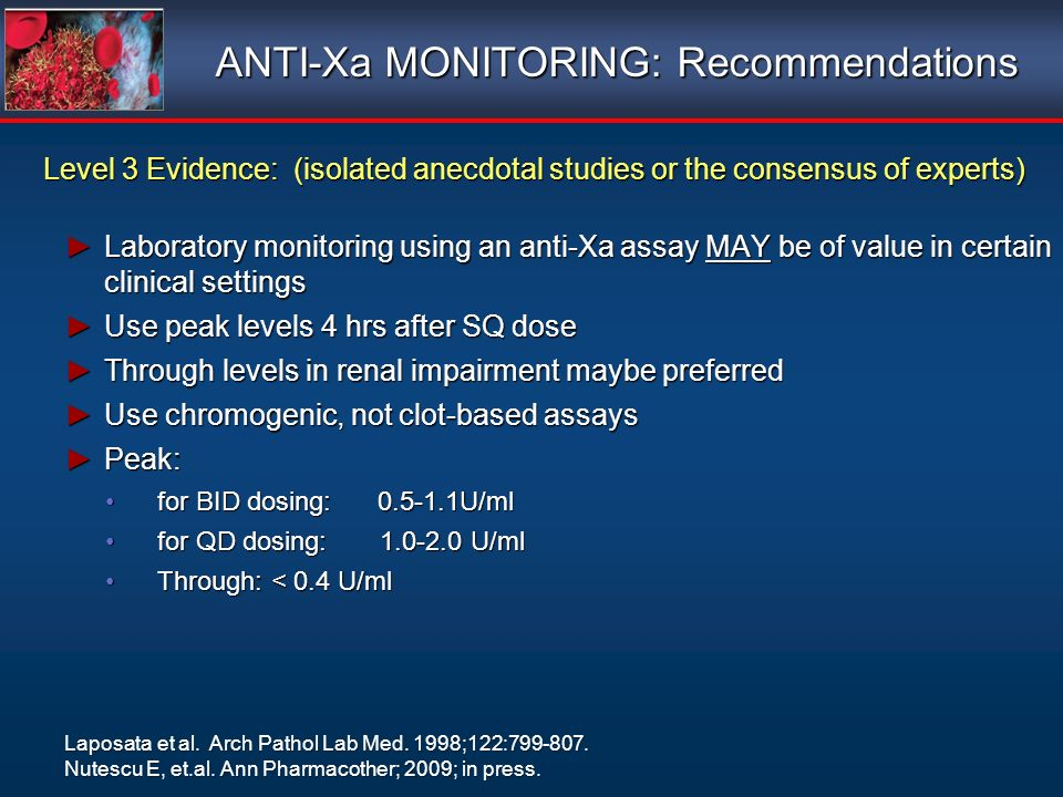 ANTI-Xa MONITORING: Recommendations