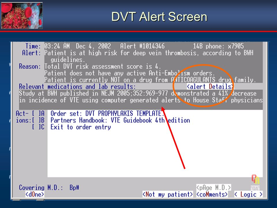 DVT Alert Screen