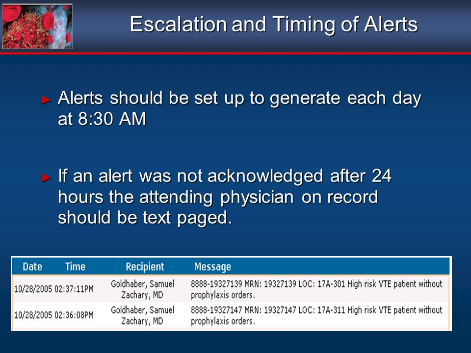 Escalation and Timing of Alerts